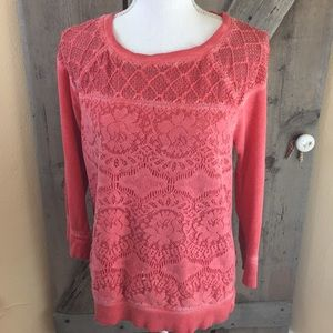 Lucky Bliss By Lucky Brand Coral Lace Shirt Size M